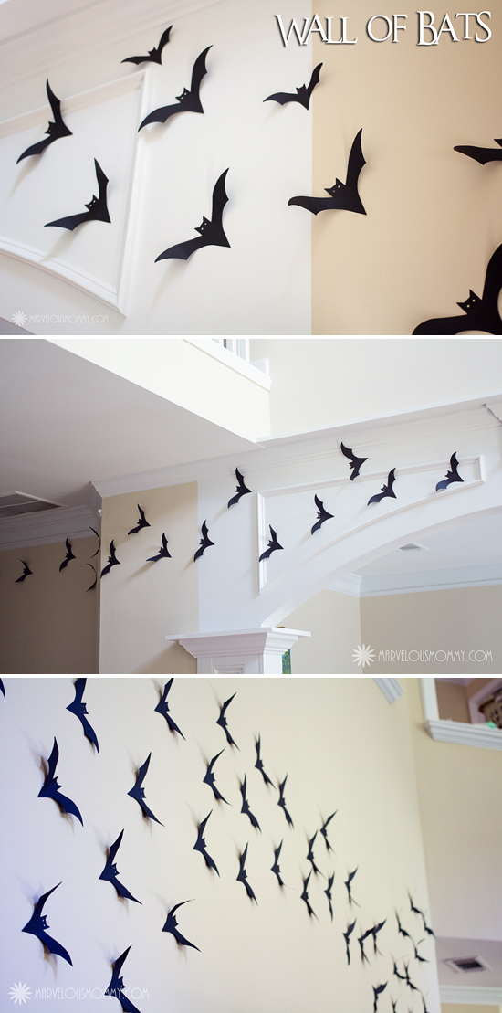 Wall of Bats by Marvelous Mommy at 30 Spider and Bat Halloween Decoration Ideas