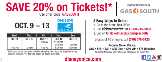 gas south disney on ice discount