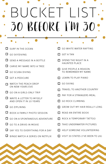 30 Before I'm 30 BUCKET LIST