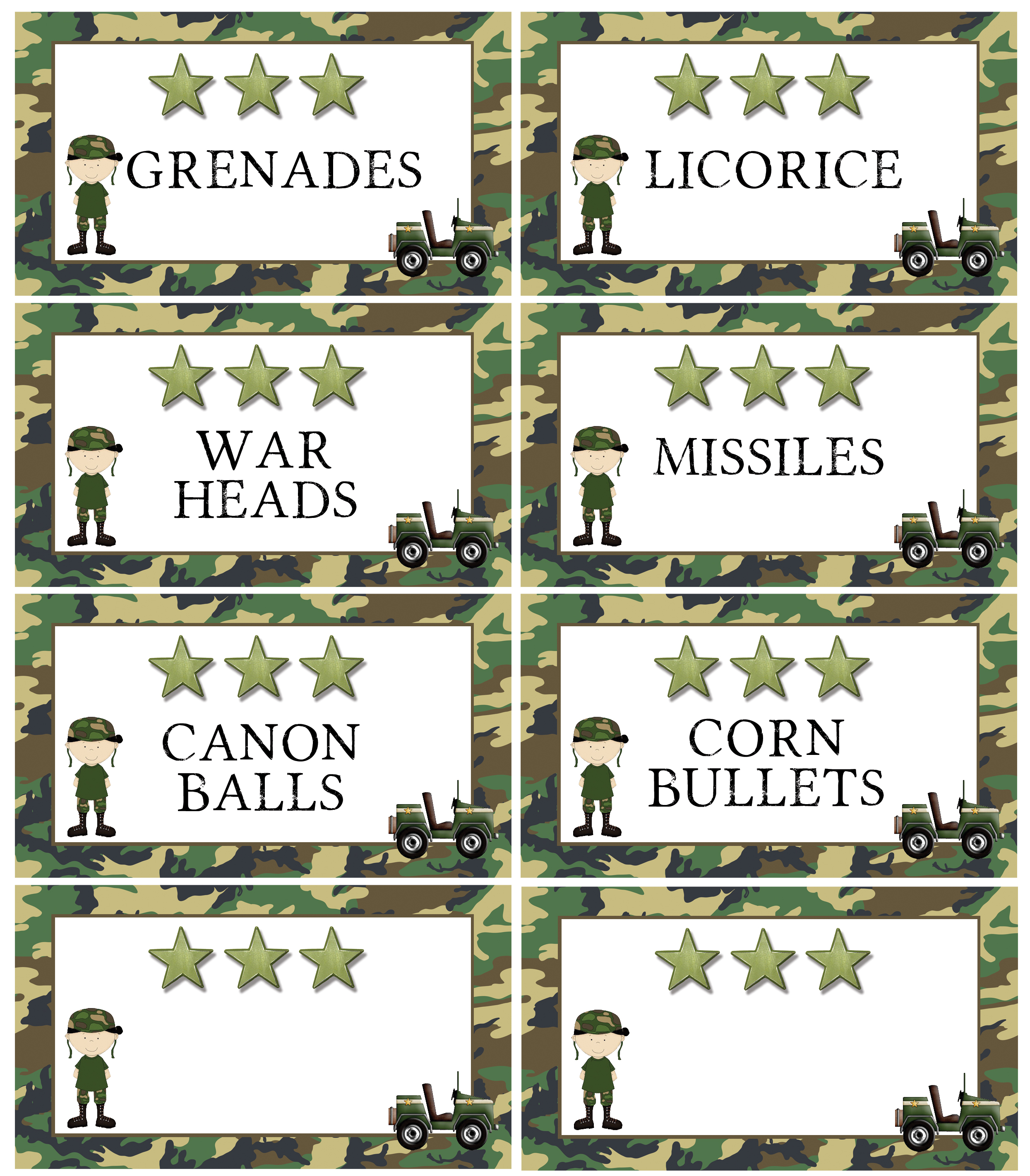 Army Camo Tank Birthday Cake Free Party Printable